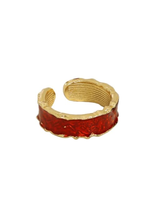 Gold [red] 925 Sterling Silver Enamel Irregular Vintage Band Ring